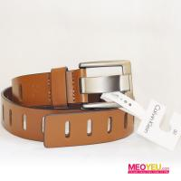 NN25_1 Calvin Klein Jeans CKJ men belt grey buckle, brown genuine leather with rectangle decoration
