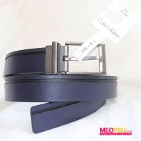 NN25_5 Calvin Klein men belt silver buckle reversible, blue with black stripe and black leather